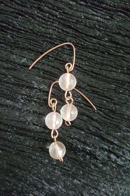 Rose Quartz (multifaceted ball) Earrings in Copper