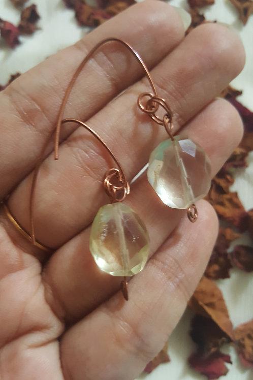 Lemon Quartz Earrings in Copper