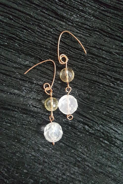 Citrine + Rose Quarz Earrings in Copper