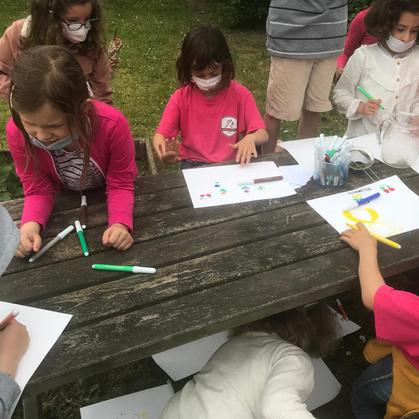 Les enfants dessinent le jardin