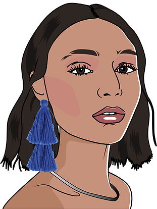 Fashionable women illustrated for t-shirt designs by Gaby Katten