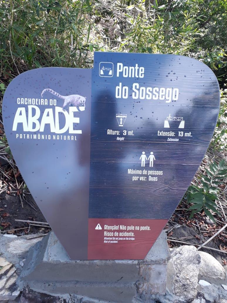 Placa da Trilha do Vale na Cachoeira do Sossego em Cachoeira Abade valor do ingresso