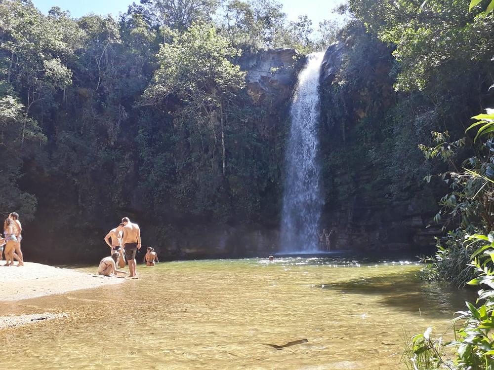 praia e poço na chegada na Cachoeira do Abade