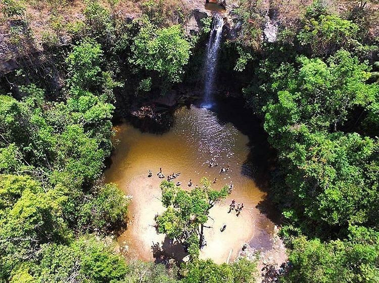 Vista aérea da Cachoeira do Abade