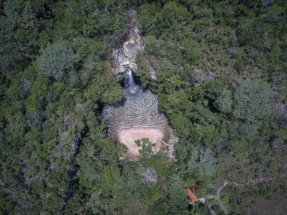 foto aérea da Cachoeira do Abade