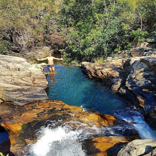 Cachoeira do Sossego na trilha do Vale a primeira da Reserva do Abade
