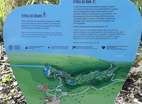 Sinalização das trilhas na Cachoeira do Abade