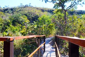 Ponte pênsil na Cachoeira do ABade