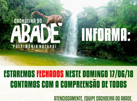 Cachoeira do Abade estará fechada no domingo, dia 17/06/2018