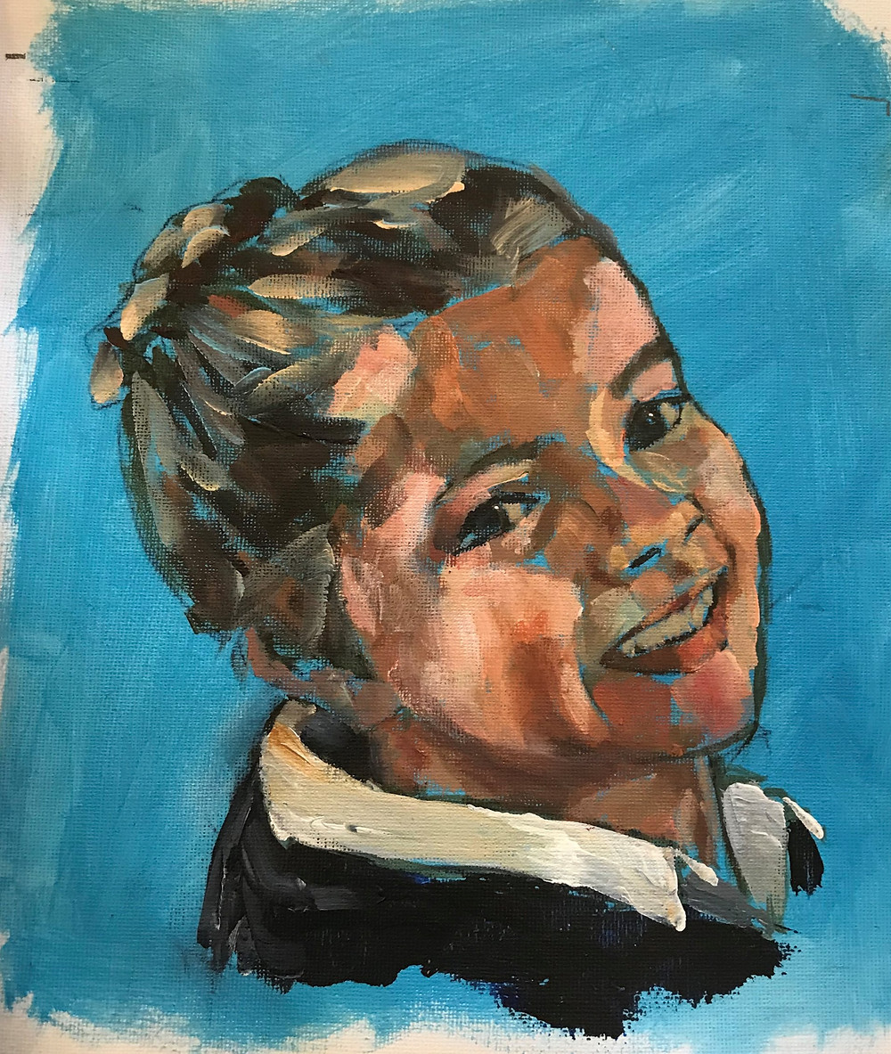 loose acrylic portrait, portrait of young girl, smiling child