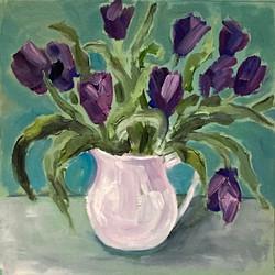 Tulips in white jug 2