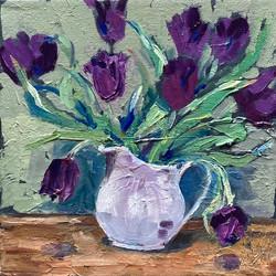 Black tulips in white jug 3
