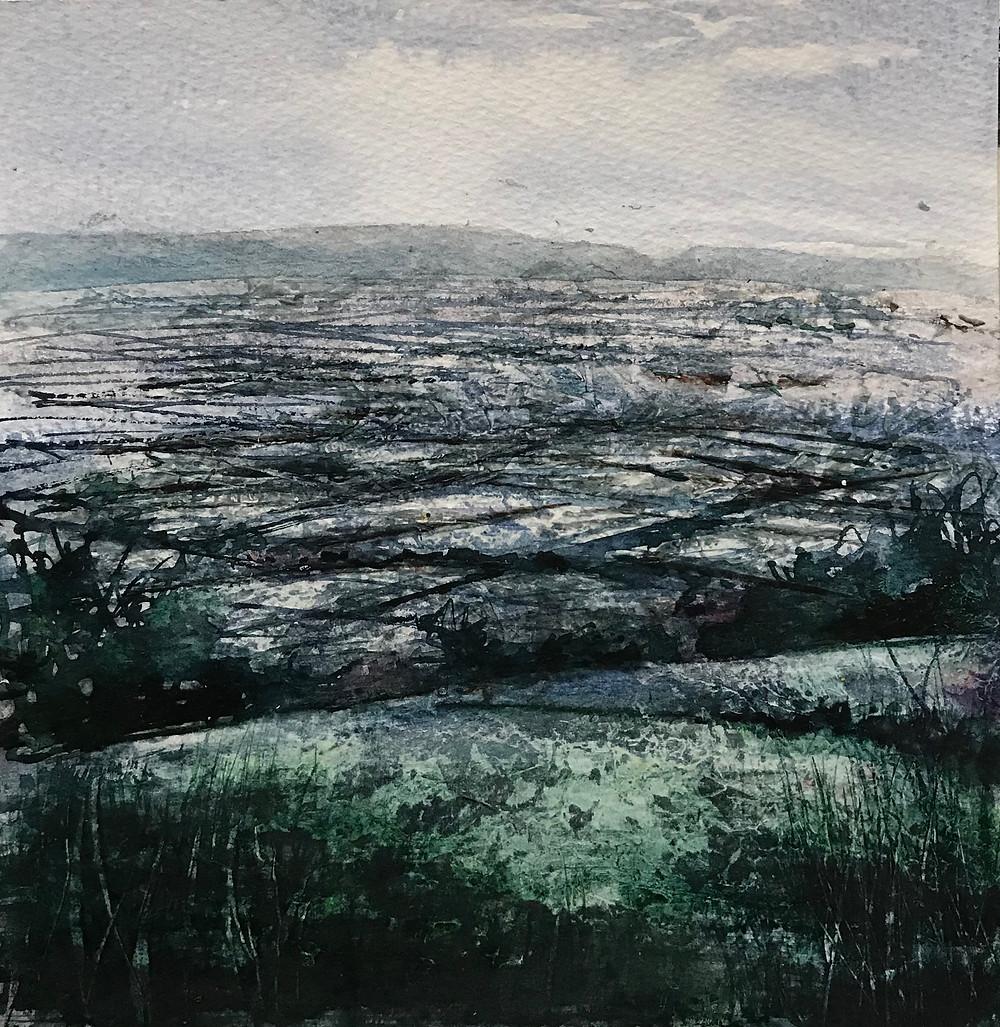 Gesso watercolour landscape somerset levels