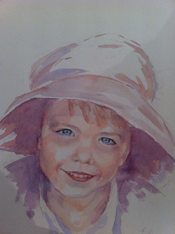 Sam in Mummy's hat