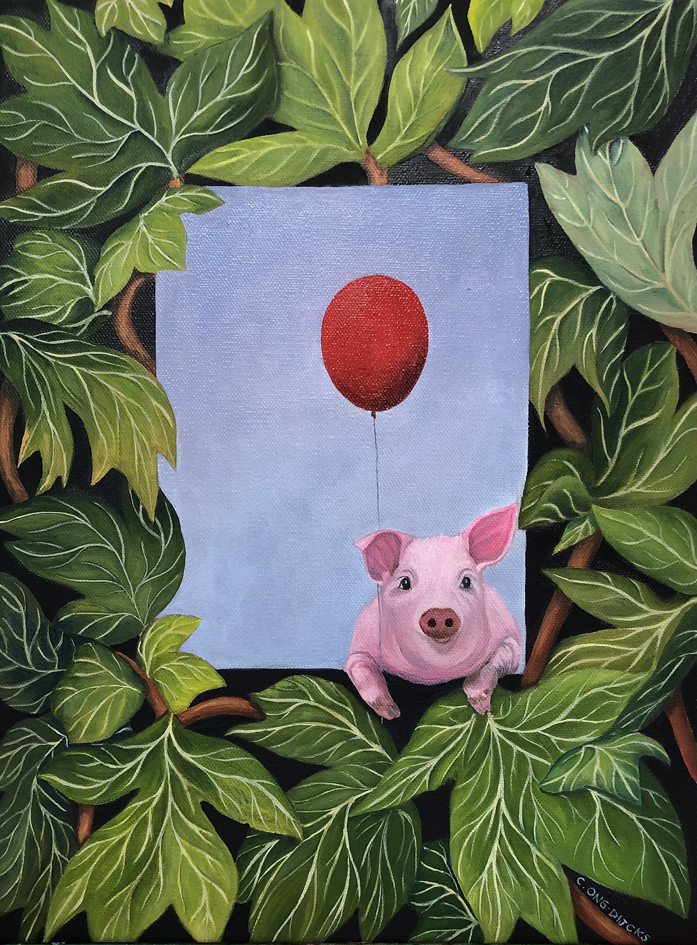 My sweet little piggy with her Red Balloon in Peony Leaves