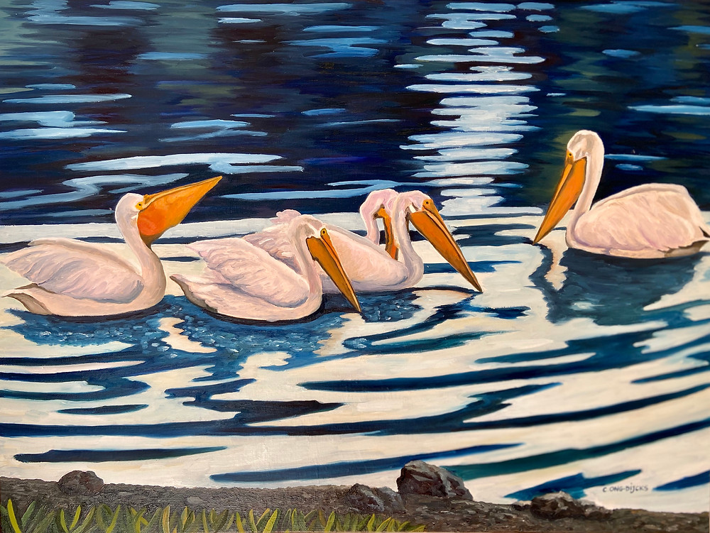 Crisply painted pelicans in a shadowy, somewhat impressionistic water scene