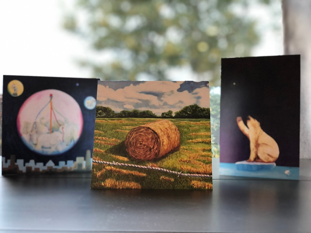 Examples of the original art card - 5x5 and 4x6 folded