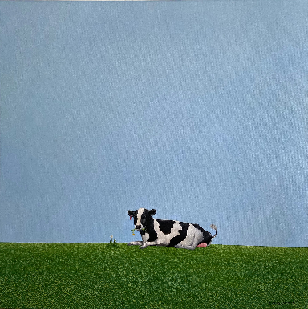 A black and white cow, enjoying fresh grass on the dike