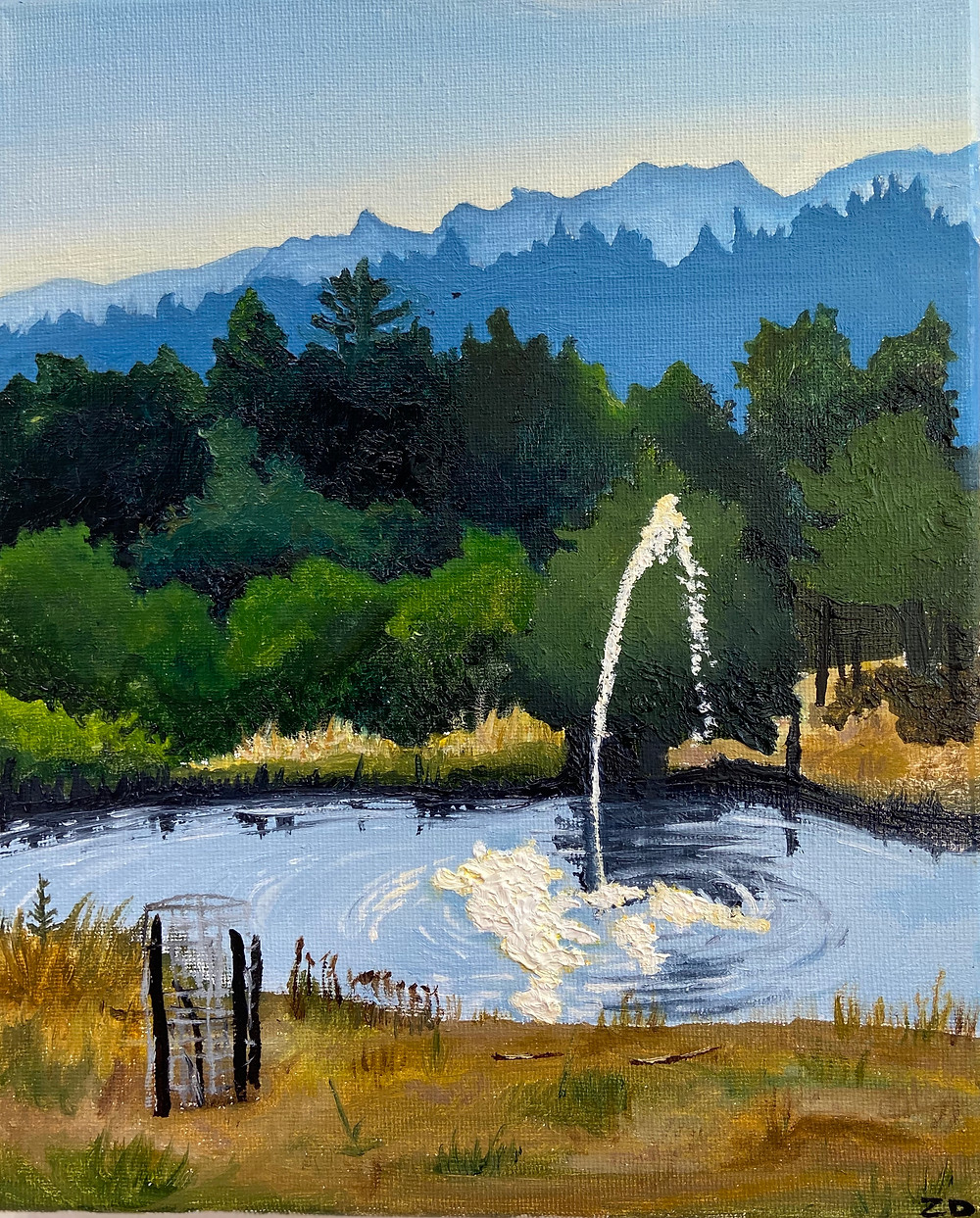 """Oil on Canvas painting (8"""" x 12"""") of a farm pond in Montgomery Creek, CA"""
