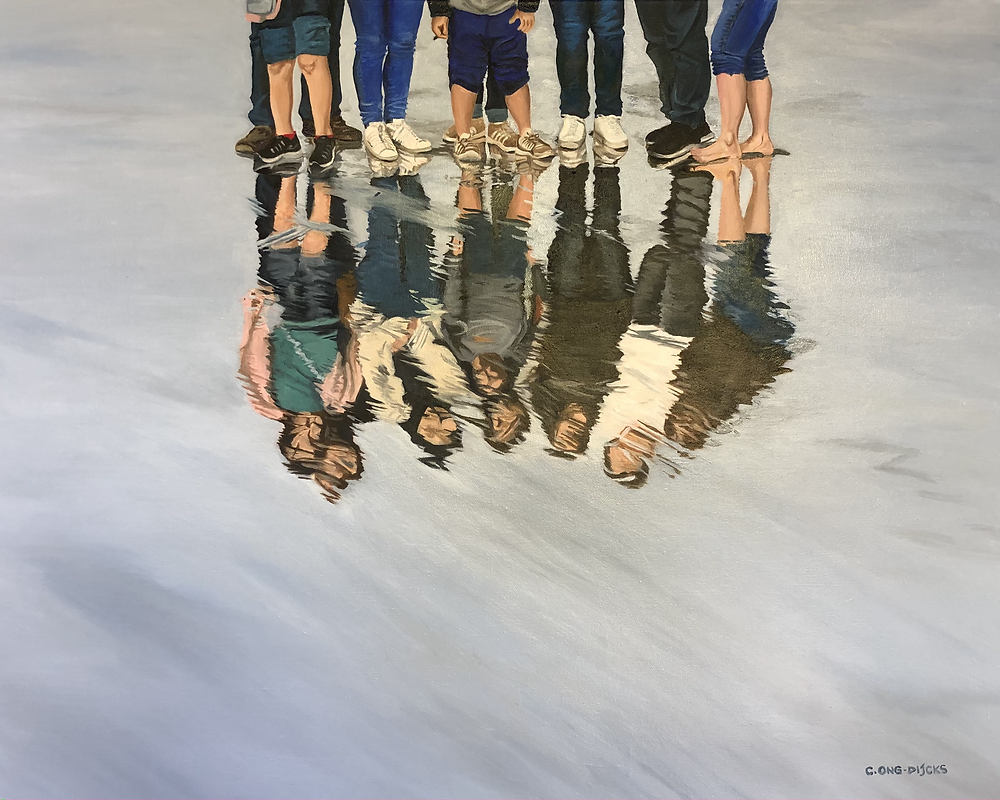Family reflection on the beach, in oil on canvas