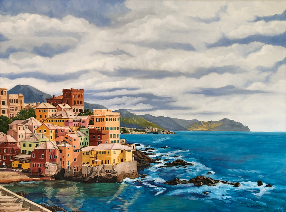 Pretty sea scape of the Italian town of Boccadasse near Genoa