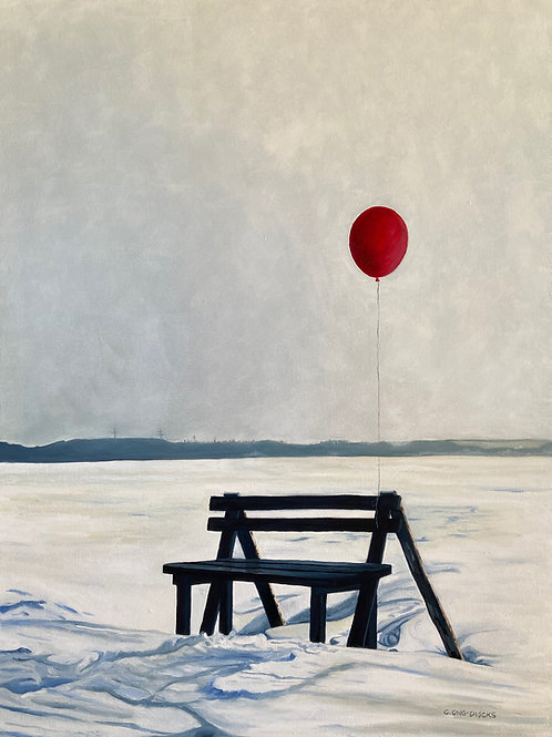 Red Balloon on a Winter Bench