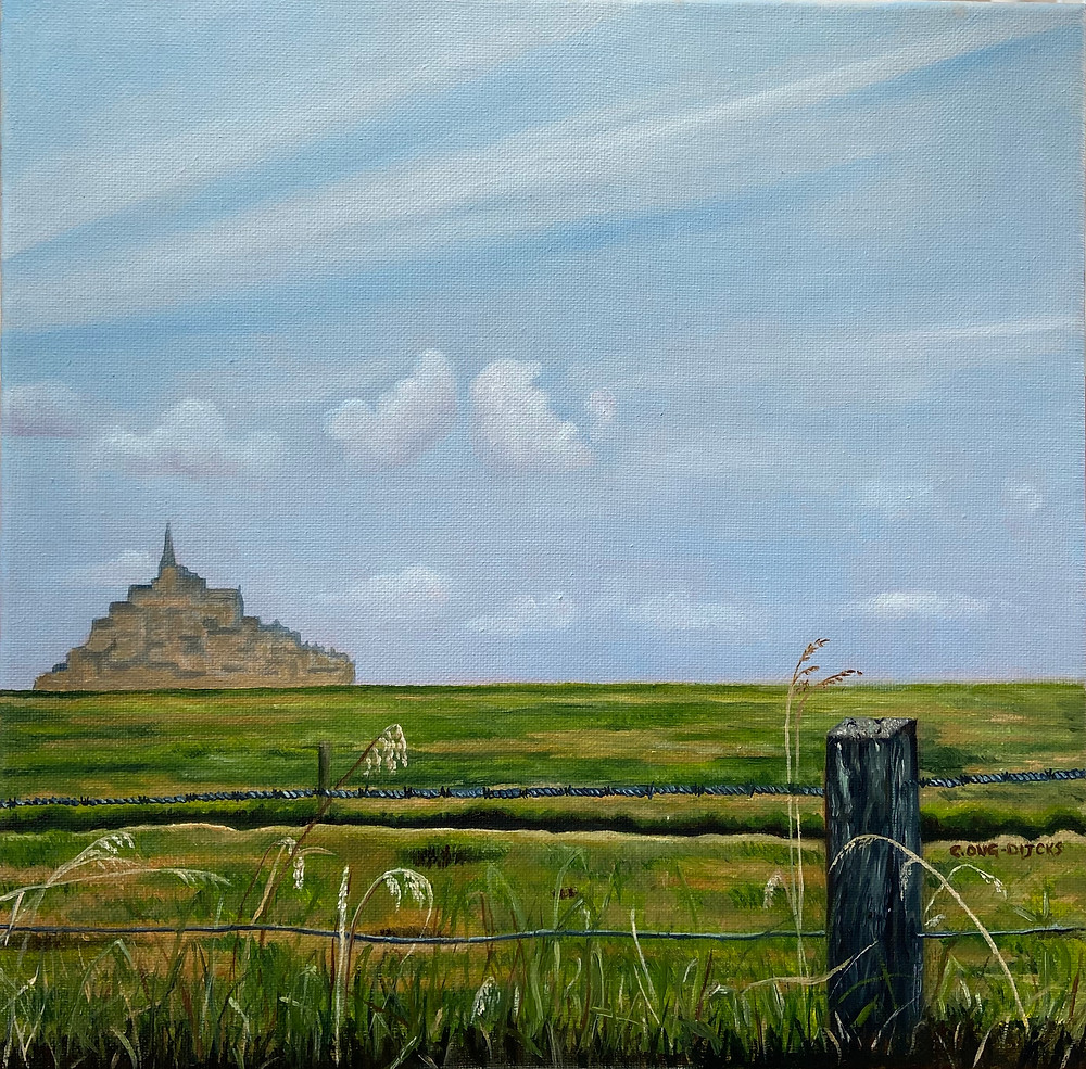 Mont-Saint-Michel in the distance on a Normandy summer day