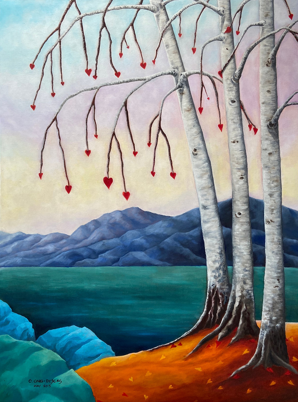 Lovely birch trees growing hearts of love
