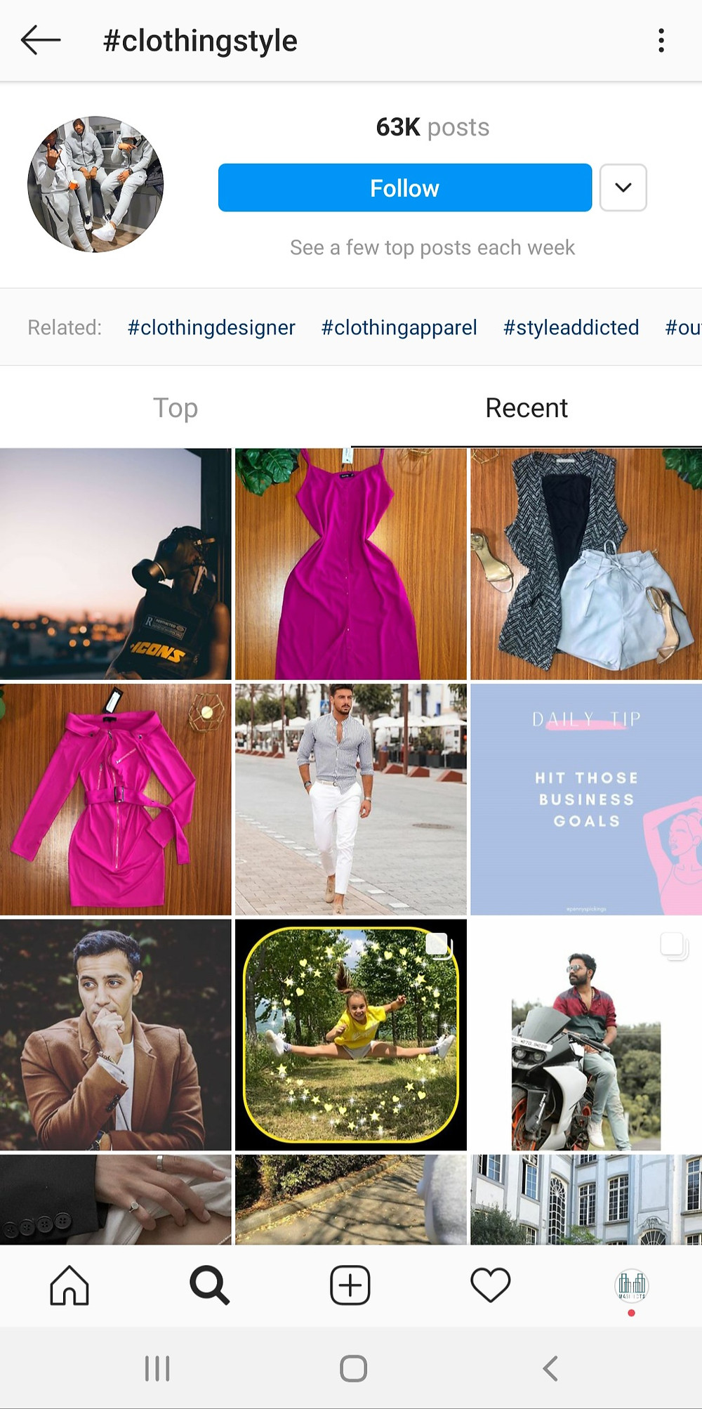 Instagram Search and Explore Top Accounts