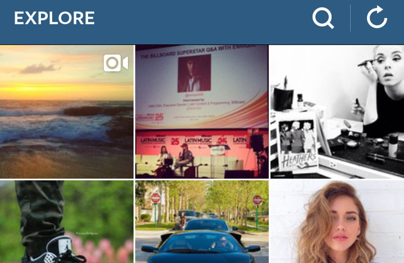 A quick glimpse of the Instagram explore tab.