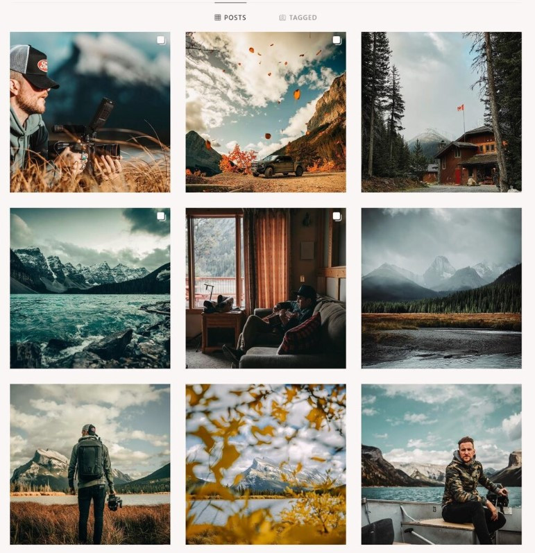 Instagram Grid of an outdoorsy account