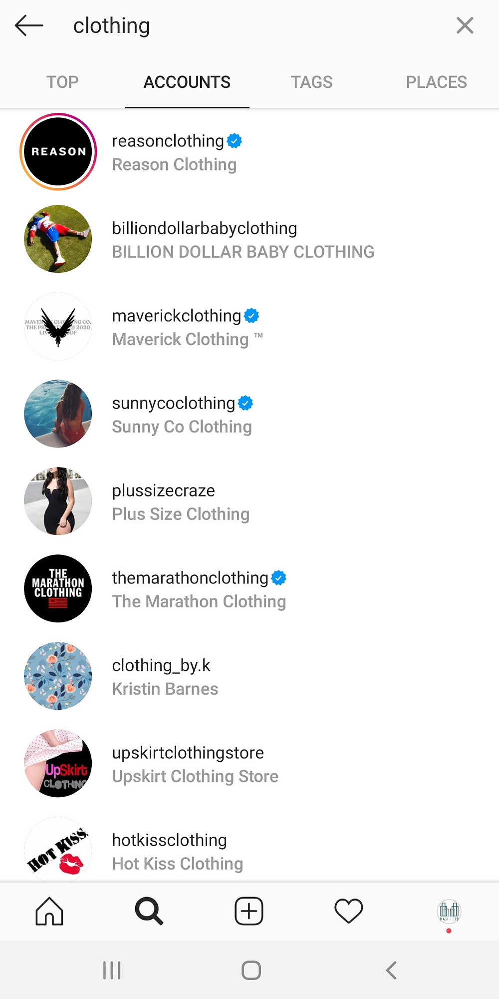 Instagram Search and Explore account searching