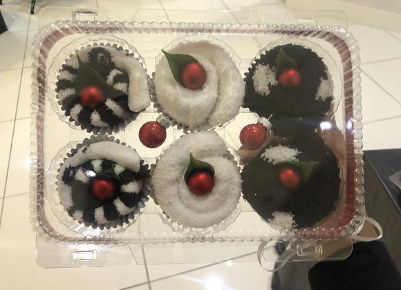 Fuzzy Footie Cupcakes: Pandas & Dots