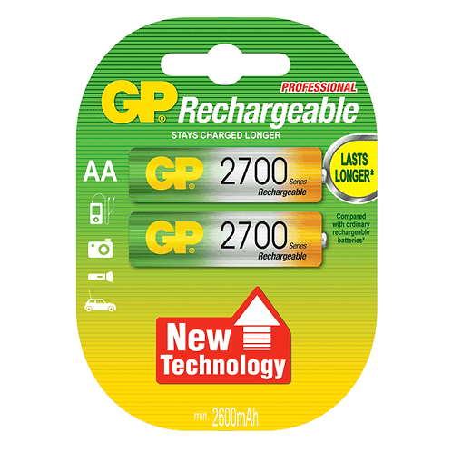 GP NIMH RECHARGEABLE AA 2700MAH [2 PACK]