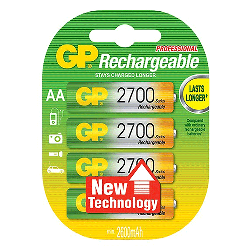 GP NIMH RECHARGEABLE AA 2700MAH [4 PACK]