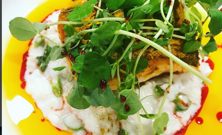 Curry dusted Coast of Maine salmon filet. Coconut risotto, asparagus, Harissa oil