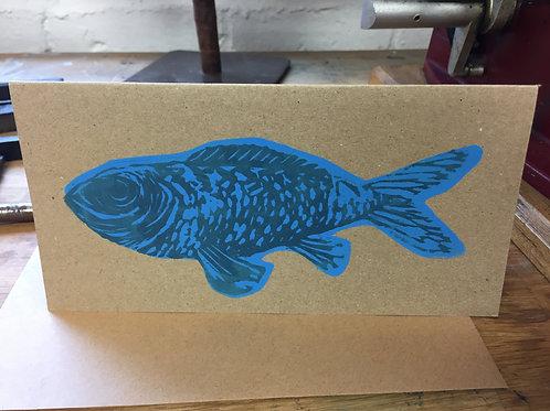 Big Blue Fish Card (on Brown Card)
