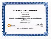 Certificate of Completion, Bloodborne Pathogens & Infection Control for Tattooing and Piercing  - Kristin Duncan