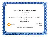 Certificate of Completion, Bloodborne Pathogens & Infection Control for Tattooing and Piercing Sanitation  - Lynn Duncan