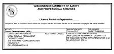 State of Wisconsin License and Permit - Lynn Duncan