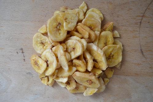 chips de banane bio en vrac zéro déchet fruits secs bio huile de coco bio sucre de canne bio banane rondelle bio