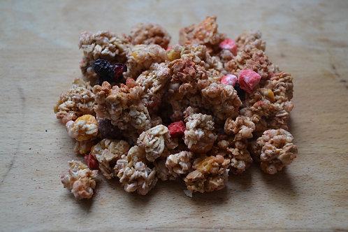 muesli croustillant au fruits rouges bio en vrac zéro déchet avec avoine fraise framboise bio myrtille bio petit déjeuner bio