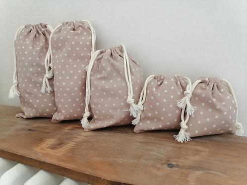 Sac à vrac en tissu 100% coton sac en tissu réutilisable vrac bio marron petit pois cordon coton épicerie zéro déchet