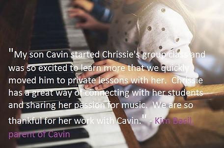 Chrissie Davis piano student testimonial