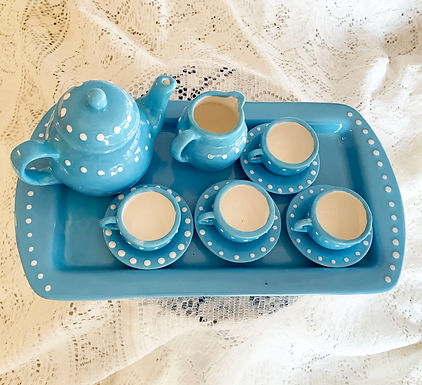 Handmade and Hand Painted Heirloom Childs Tea Set-Blue Yonder