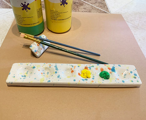 Paint Pallet and Brush Holder-hand made