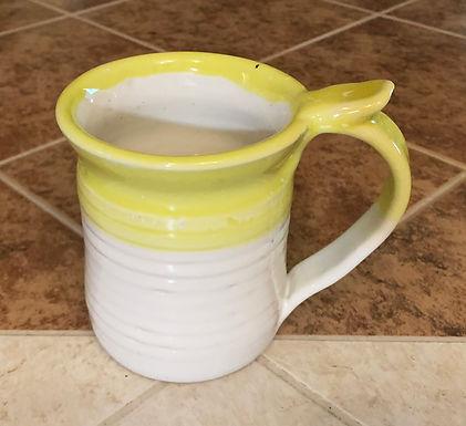 Wheel Thrown Stoneware Mug -White dipped in Yellow