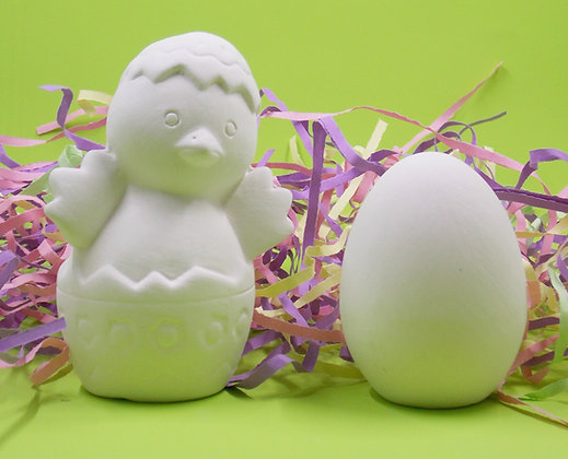 Cute Chick in an Egg and Egg set, Paint your own Bisque set