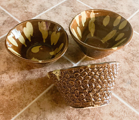 Set of  3 Hand Made Stoneware Bowls with Yellow Drips
