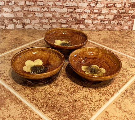 Hand Made Stoneware Tiny Bowls with Yellow Flowers-Set of 3